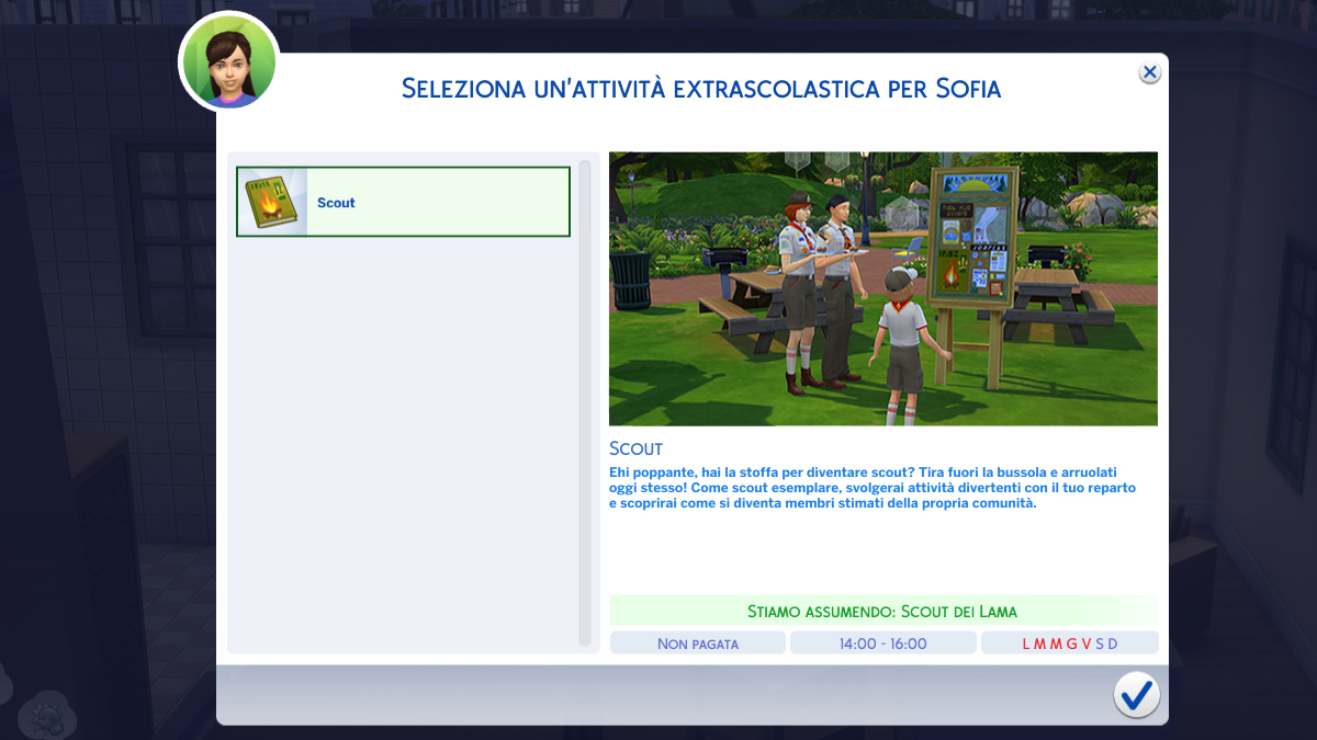 The Sims 4 Stagioni Scout
