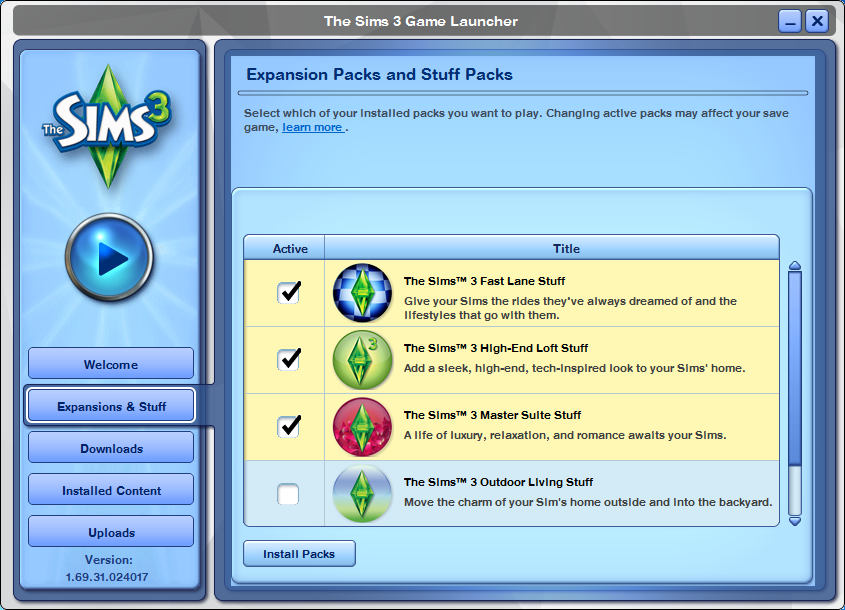 the sims 3 gestione espansioni e stuff pack