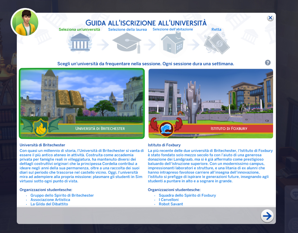 The Sims 4 Vita Universitaria Iscrizione Step